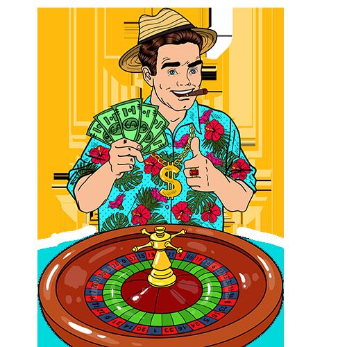 Glücklicher Mann erhalten Roulette Willkommensbonus