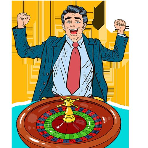 Glücklicher Mann für Casino mit Roulette
